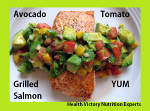 Grilled salmon MUFA avocado